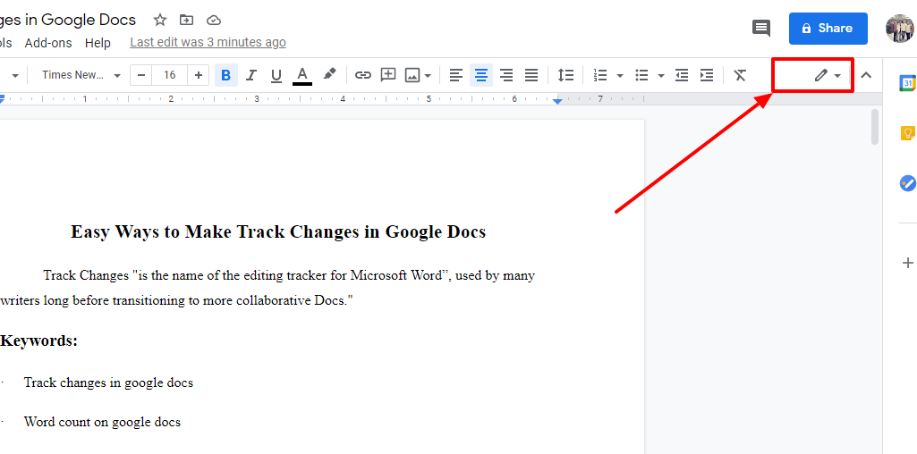 Track Changes in Google Docs